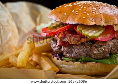 burger with bacon - stock photo