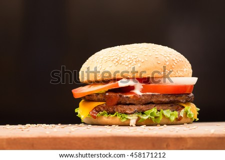 Burger with black backgrond
