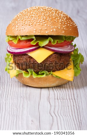 Burger with cheddar cheese, meat with vegetables on the table