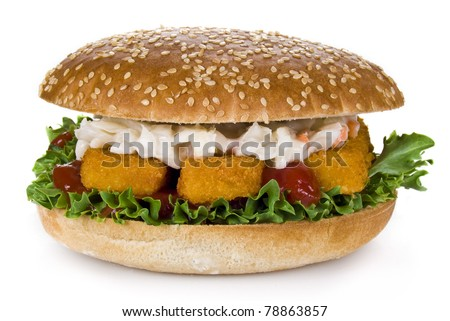 Burger with fish fingers and coleslaw salad - isolated - stock photo