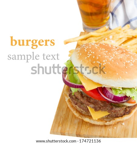 burger with french frie and  beer border  isolated on white background - stock photo