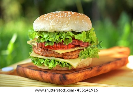 Burger with vegetables and cheese on cutting board in the garden