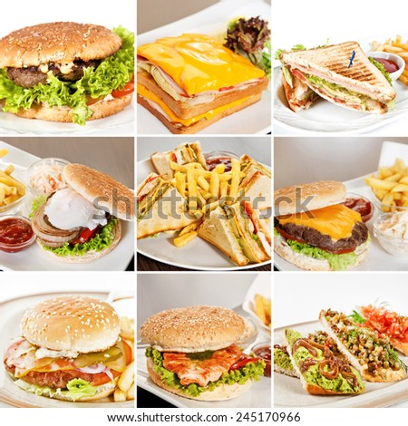 Burgers and sandwiches collage including burgers with beef, burger with salmon, clubhouse sandwiches, sandwich with roast beef and bruschetta with spicy vegetables