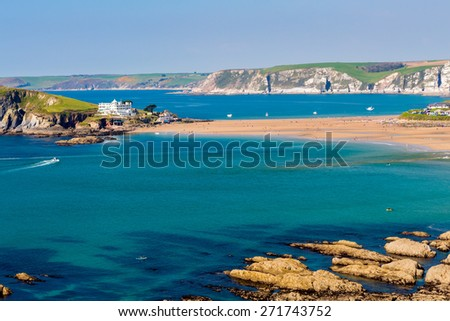 Burgh Island as seen from Bantham Devon England UK Europe - stock photo