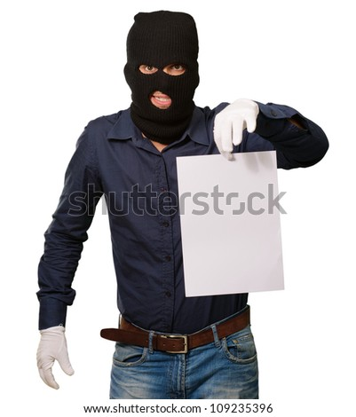 Burglar In Face Mask On White Background - stock photo