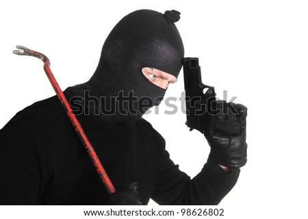 Burglar with crowbar and gun - isolated on white - stock photo