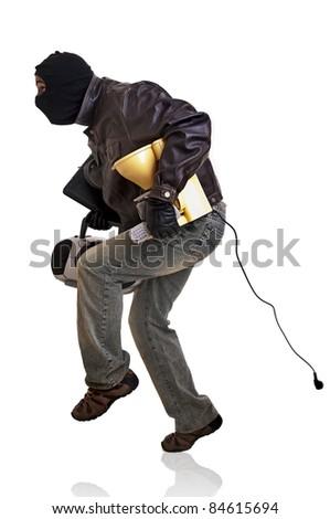 Burglar with goods isolated in white - stock photo