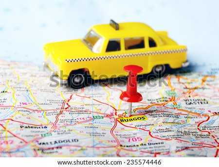 burgos  ,Spain  map ,pin  and taxi car  toy   - Travel concept - stock photo
