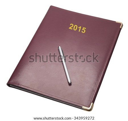 Burgundy notebook for 2015 isolated with clipping path - stock photo