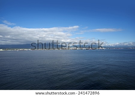 Buried Inlet with North Vancouver and Seymour Mountain, British Columbia, Canada - stock photo