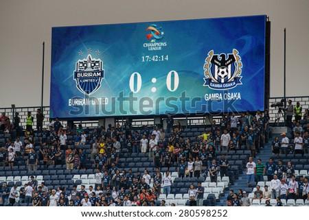 BURIRAM,THAILAND-APRIL 07:Views big scoreboard I-mobile Stadium during The AFC Champions League 2015 between Buriram UTD.and Gamba Osaka at I-mobile Stadium on Apr 07,2015 in Thailand - stock photo