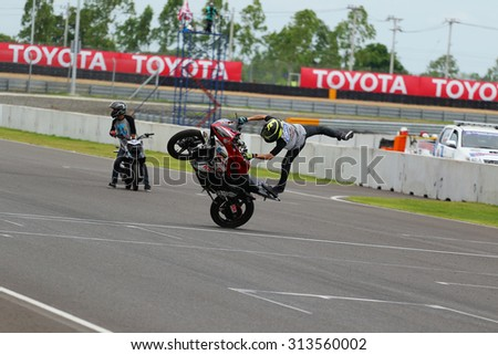Buriram, Thailand - August 30, 2015: Yamaha Stuntman Show in Asia Road Racing Championship 2015 Round 4. was held at the Chang International Circuit.