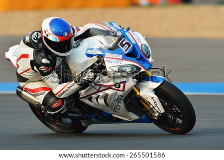 BURIRAM,THAILAND-MARCH 20:Ireneusz Sikora No.5 rides BMW S1000 RR during free practice2 at the World Superbike Championship at Chang International Circuit on March20,2015 in Thailand. - stock photo