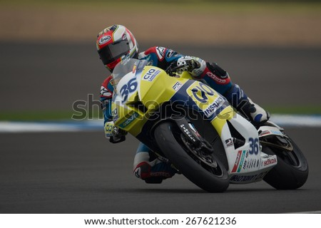 BURIRAM,THAILAND-MARCH21:Mart�­n C�¡rdenas of CIA Landlords Insurance Honda Team rides during Qualifying at the Supersport World Championship.at Chang International Circuit on March21,2015 in Thailand.