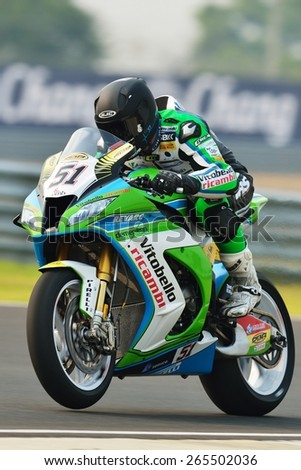 BURIRAM,THAILAND-MARCH 20:Santiago Barragan of Spain Grillini SBK Team rides during free practice2 at the World Superbike Championship at Chang International Circuit on March20,2015 in Thailand. - stock photo