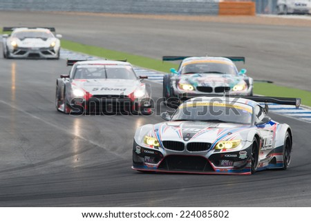 BURIRAM THAILAND-OCTOBER 5:Akira Iida of TWS LM corsa BMW Z4 drives during the Autobacs Super GT Round7  at Chang International Circuit,on Oct 05,2014 in,Thailand - stock photo