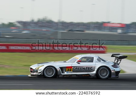 BURIRAM THAILAND - OCTOBER 5:Masaki Jyonai of R'Qs Motor Sports Team drives during the Autobacs Super GT Round7 Burirum United Super GT Race at Chang International Circuit,on Oct 05,2014 in,Thailand - stock photo