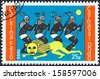 "BURKINA FASO - CIRCA 1985: A stamp printed in Burkina Faso from the ""Dodo Carnival"" issue shows Lion and four dancers, circa 1985.  - stock photo"