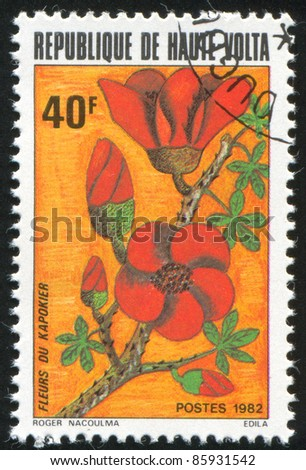 BURKINA FASO - CIRCA 1982: stamp printed by Burkina Faso, shows flower, circa 1982