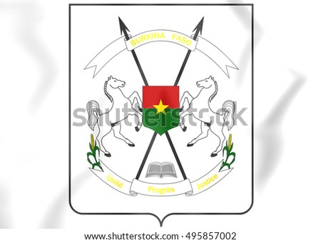 Burkina Faso Coat of Arms. 3D Illustration.