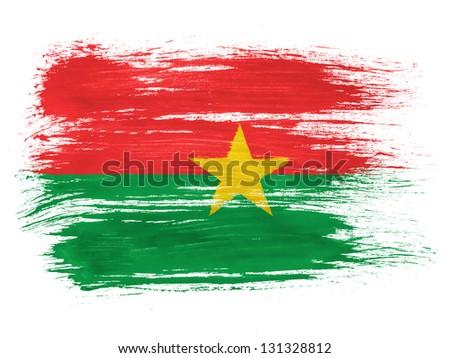 Burkina Faso flag on white background - stock photo