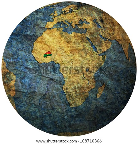 burkina faso territory with flag on map of globe