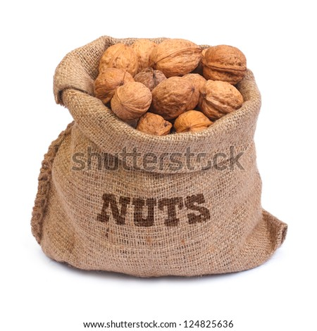 burlap bag with the inscription nuts of walnuts isolated on white background