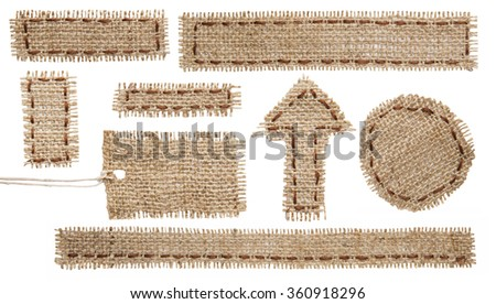 Burlap Fabric Tag Label, Rustic Hessian Cloth Patch Ribbon, Torn Sackcloth Isolated on White - stock photo