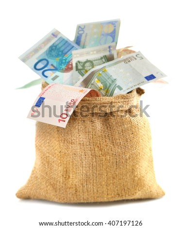 Burlap sack filled with euro banknotes, isolated on white - stock photo