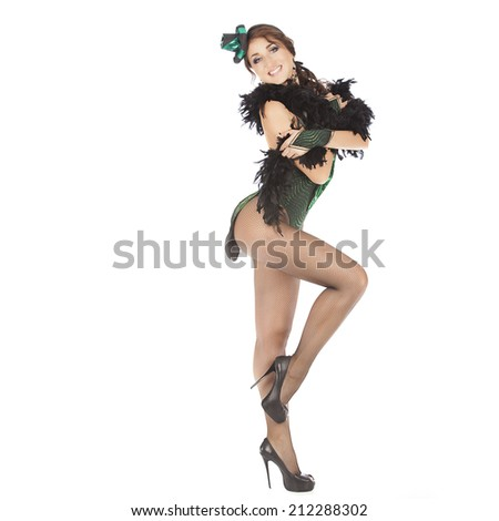 Burlesque dancer with green dress, isolated on white - stock photo