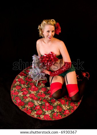 Burlesque performer shot in a studio setting.