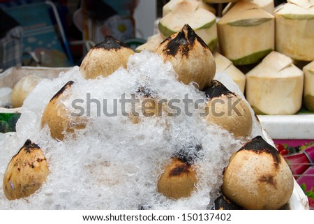 Burned coconuts in the basket,Thailand market