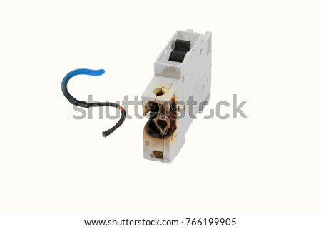 burned electrical circuit breaker fuse box stock photo 100 legal rh shutterstock com Car Fuse Box Antique Fuse Box