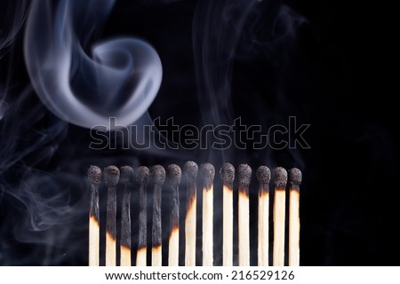 burned match sticks  - stock photo