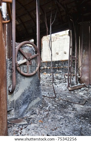 Burned-out train wagon after a fire