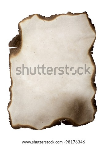 Burned paper isolated on a white background - stock photo