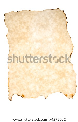 Burned parchment on white background.