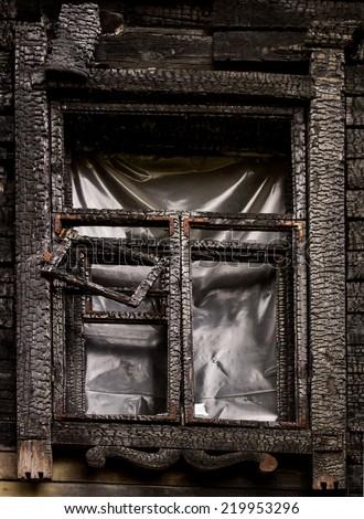 burned window - stock photo