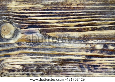 Burned Wooden Board Surface After Heat And Flame Treatment. Textured Natural Wood Structure For Home Interior Design In Vintage Modern Style. Background Or Texture With Copy Space. - stock photo