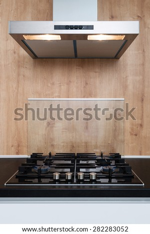burner gas stove in a kitchen - stock photo