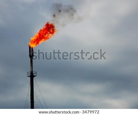 Burning accompanied gases - stock photo