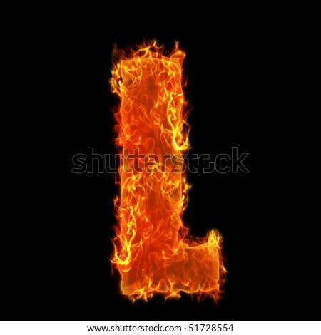 Burning Alphabet Letter L - stock photo