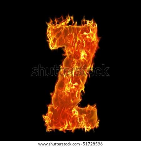 Burning Alphabet Letter Z - stock photo