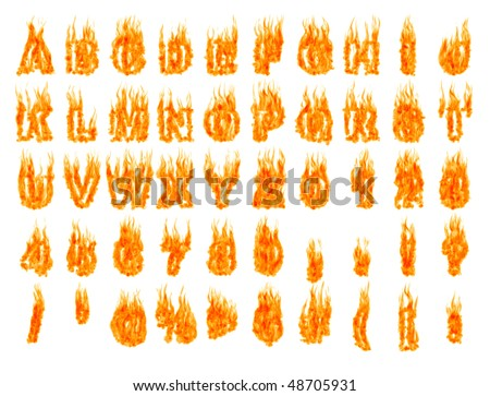 Burning alphabet letters and numbers isolated on white background. 3D illustration - stock photo
