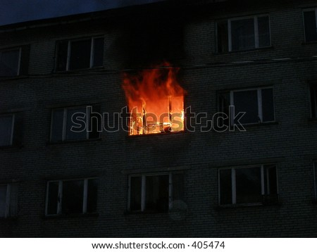 Burning apartment - stock photo