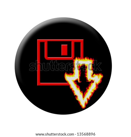 burning arrow download button - stock photo