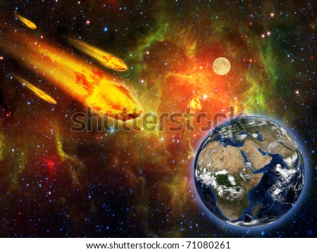 burning asteroid hitting earth surface - stock photo