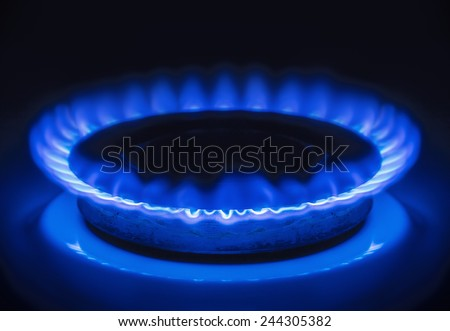 Burning blue gas. Focus on the front edge of the gas burners.  - stock photo