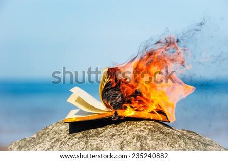 Burning book on the sea coast - stock photo