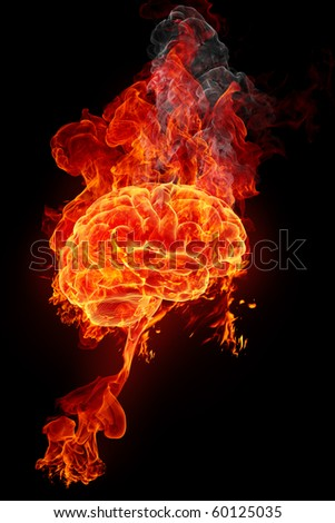 Burning brain - stock photo